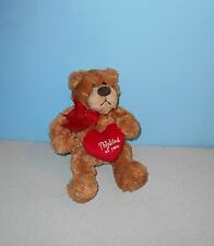 "9"" Gund Charmer Teddy Bear Stuffed Bean Plush Animal Lovie #14150 Holding Heart"