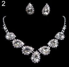 B91 Tear Drop Clear White Topaz Swarovski Crystal Earring Necklace Jewelry Set