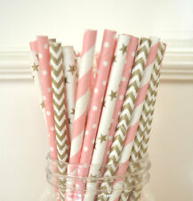 100pcs gold and pink mix polka dot paper straws wedding drinking party tablewear