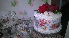 LARGE WHOLE FAKE CAKE MADE WITH VINTAGE ROSE DESIGN TABLE CENTER DISPLAY DRESSER
