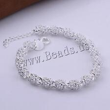 Fashion Women Real 925 Silver Bangle Bracelet Crystal Charm Chain for Lady