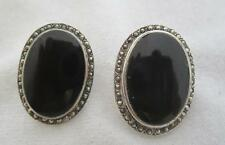 """VINTAGE PAI STERLING SILVER ONYX CABOCHON & MARCASSITE 1 1/8"""" BY 3/4"""" EARRINGS"""