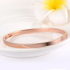 Womens bangle charm love Fashion bracelet smooth Rose Gold Filled jewelry