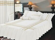 T200 100% EGYPTIAN COTTON WHITE & GOLD SINGLE BED FITTED GLAMOUR BEDSPREAD SET