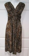 Leopard Animal Print Dress Sleeveless V-Neck Knotted Empire Waist Ruching Small