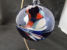 """CHRISTMAS Ornament Hand Blown POLAND ART Glass Ball   3""""   cobalt blue"""