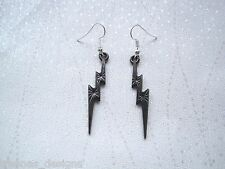 BLACK STORM LIGHTNING BOLT STRIKE FLASH SP Long Drop Earrings Gift Bag