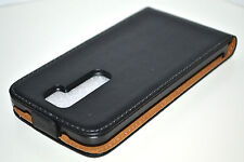 For LG G2 Black Genuine Real Leather Flip Phone Mobile Case Cover