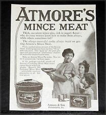 1919 OLD MAGAZINE PRINT AD, ATMORE'S MINCE MEAT, FOR THICK SUCCULENT PIES, ART!