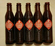 5 Vintage ORANGE CRUSH Ribbed Amber Pop Soda Bottles NO CHIPS Ottawa, KS Kansas