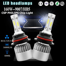 COB 9007 160W 16000LM PHILIPS LED Headlight Bulbs Kit Hi/Low Beam White 6000K