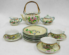 Vintage Hand Painted  2-tone Lusterware Childs Toy Dishes Tea Set 16 pieces