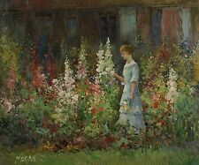 Original Oil Painting on Stretched Canvas, Vintage 20X24 A woman in the Garden