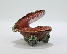 Old or Antique Majolica or Palissy Open Clam Shell Dish - Seaweed Mussels - PT