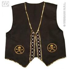 Black Pirate Vest Top Fancy Dress Costume With Skull Detail Adult One Size