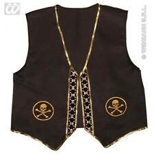 Negro Pirata De Tirantes Fancy Dress Costume Con Calavera Detalle Adulto One Size