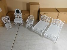 Lot of 5 Vintage White Wicker Wire Metal Doll Furniture Bedroom Set  NIB NEW