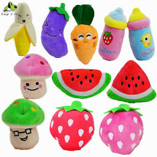 11PCS/Lot Pet Puppy Dog Chew Toy Squeaky Sound Fruit Vegetable Bottle Gift