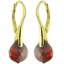 14k Gold Over 925 Sterling Silver Natural Briolette Fat Onion Garnet Earrings