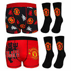 Manchester United FC Official Football Gift Set Boys Socks & Boxer Shorts