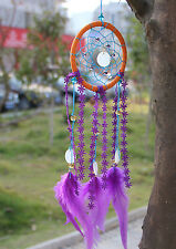 Shells Dream Catcher with Purple Flower Feather Craft Hanging Decoration
