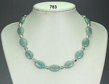 Gorgeous oval aquamarine stone necklace, silver / clear crystals, silver balls