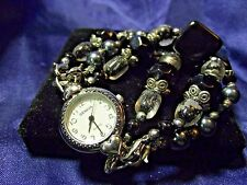 Geneva Woman's Watch with 3 Beaded Bands  **Black Glass**  ME040