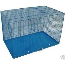 "30""Blue 3 Door Folding Suitcase Dog Crate Pet Cage Kennel w/DIVIDER Metal Pan"