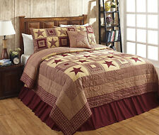 "5 Piece KING ""COLONIAL STAR-BURGUNDY"" Quilted Bedding SET ~ Country, Primitive"