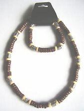 Dark & light brown coco wood & bead surf style choker necklace & bracelet set