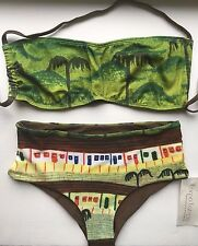 Corpo Latino Brazil 2 Pc Swimsuit M BR 42 Green Bandeau Top Brown Bikini Bottoms