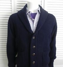 NEW Mens SIZE XL ALPACA Navy Blue Ribbed Shawl Collar Cardigan Sweater PERU
