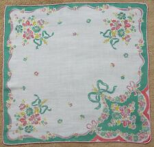 Vintage Hanky Handkerchief ~ White with Flower Bouquets Ribbons and Bows