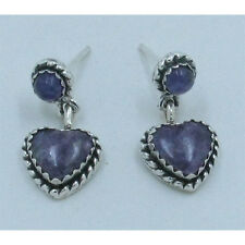 QVC .925 Sterling Silver Natural Purple Charoite Heart Earrings