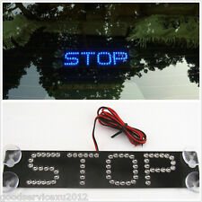 Blue STOP Logo Automobile Rear Windshield Sucker Type Brake Light Warning Lamp