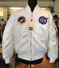 Genuine Alpha Industries MA-1 VF White NASA Edition Bomber Jacket Size 2XL