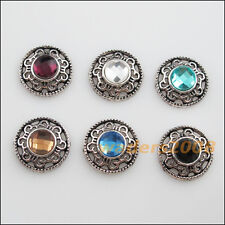 6 New Tibetan Silver Charms Mixed Crystal Round Flower Pendants Connectors 18mm