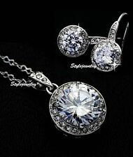 White Gold Filled Clear Swarovski Crystal Diamond Round Drop Wedding Set XS20