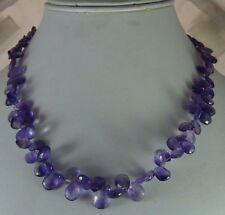 155Ct NATURAL AMETHYST BRIOLETTES DROP FACETED BEAD NECKLACE FREE SHIPPING