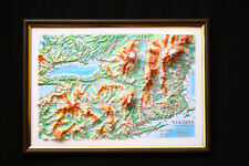 New York State Map 3D Raised Relief Framed Amazing Decorative Bird's-Eye View
