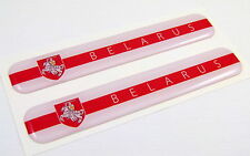 "Belarus Flag Domed Decal Emblem Resin car auto stickers 5""x 0.82"" 2pc."