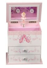 Pink & White Musical Jewelry Box Mele & Co. Plays Waltz of the Flowers