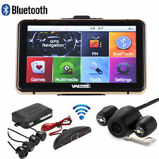 "TFT LCD 7"" Car GPS Monitor Mirror+Wireless Reverse Rear View Backup Camera+Radar"