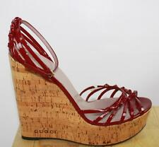 AUTH $895 Gucci Women Red Patent Leather Wedge Sandal Shoes 42