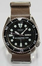 SEIKO Vintage 6309-729A Scubapro 450 Classic Diver Watch Automatic Leather Strap