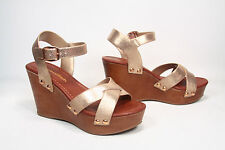 NEW Open Toe Strappy Faux Wooden Platform Wedge Heel Sandal Shoes Size  5.5 - 11