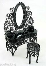 Black Wire Metal Makeup Vanity Chair 1:12 Doll's House Dollhouse Furniture Set