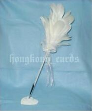 = New White Wedding Goose Feather Pen Guest Book Quill Pen Box Set Register Sign