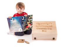 Personalised Engraved Wooden Christmas Eve Treat Box Pack with book and Key