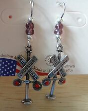 Silver 3D Railroad Crossing Sign Locomotive Train Engine Beaded Wire Earrings